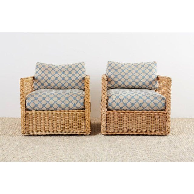 Contemporary Pair of McGuire Rattan Wicker Lounge Chairs With Ottoman For Sale - Image 3 of 13