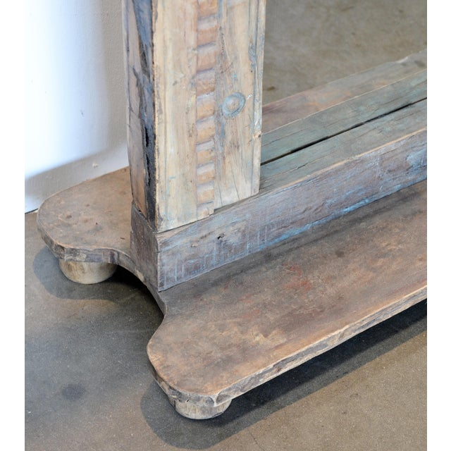 Blue Antique Wood Carved Mirror For Sale - Image 8 of 11