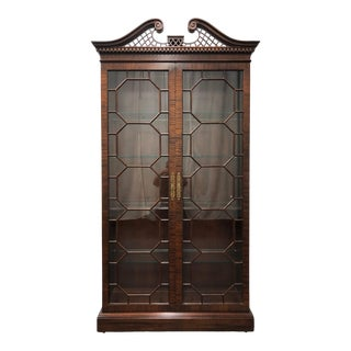 Henredon Chippendale Mahogany Curio / China Display Cabinet For Sale