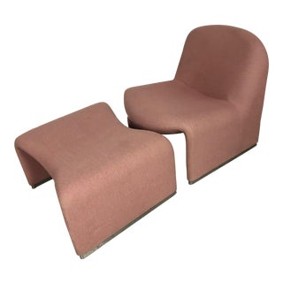 Artifort Alky Retro Light Pink Chair & Ottoman Set