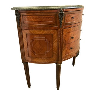 French Louis XVI Demilune Marble-Top Cabinet Chest Three-Drawer Commode For Sale