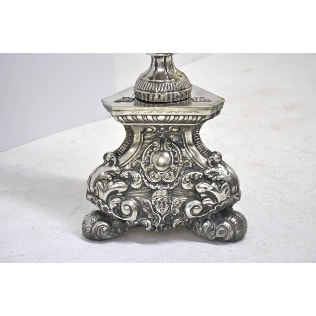 Late 19th Century Italian Silver Plated Floor Lamp From Venice For Sale - Image 4 of 5