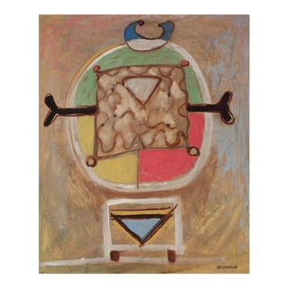 Colorful Modernist Totemic Abstract Oil Painting, Mid 20th Century For Sale