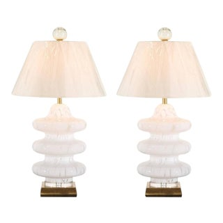 Pair of Exquisite Blown Glass Three-Tired Pagoda Style Murano Lamps by Mazzega For Sale