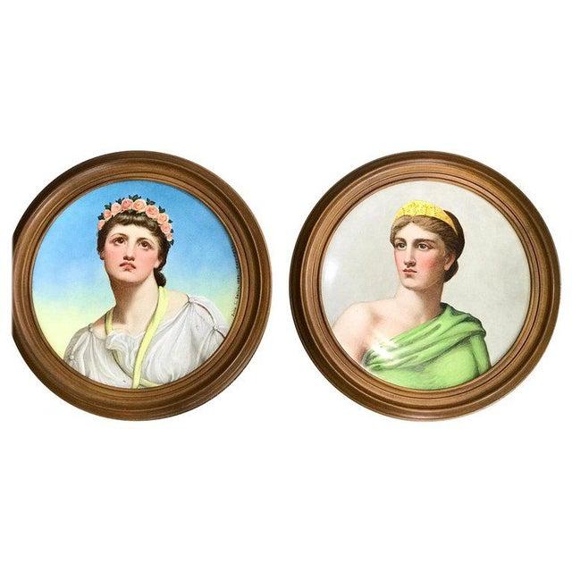"Pair of Antique English Grand Tour Portrait Plaques ""Hera & Rhodus"" For Sale - Image 13 of 13"