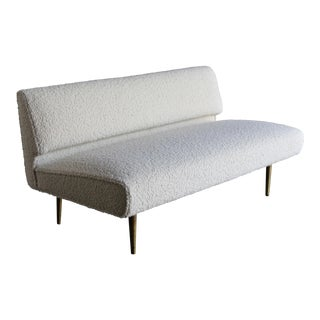 Edward Wormley Bouclé Upholstered Armless Sofa for Dunbar, Circa 1955 For Sale