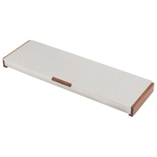 Mid-Century Modern Scandinavian Aluminum and Teak Long Lidded Box For Sale