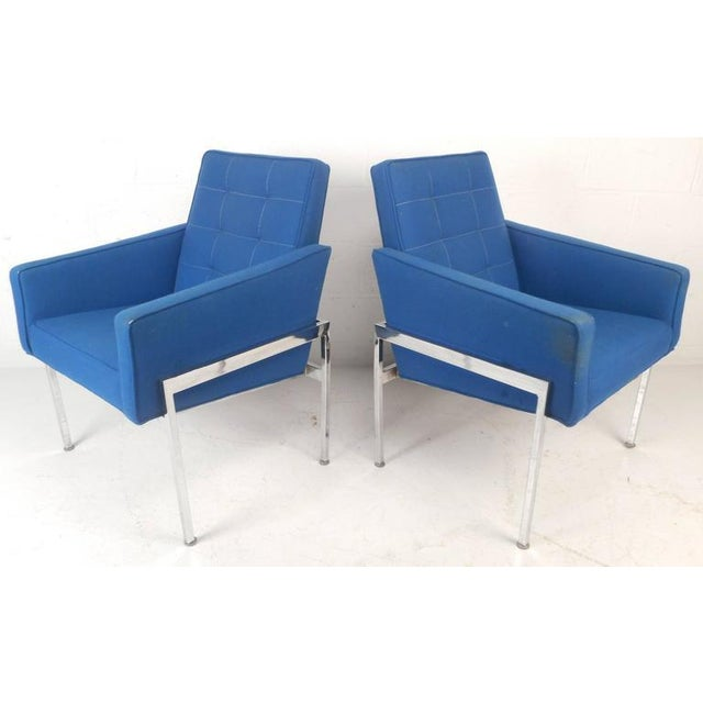Mid-Century Modern Chrome Frame Tufted Lounge Chairs - A Pair For Sale - Image 4 of 11