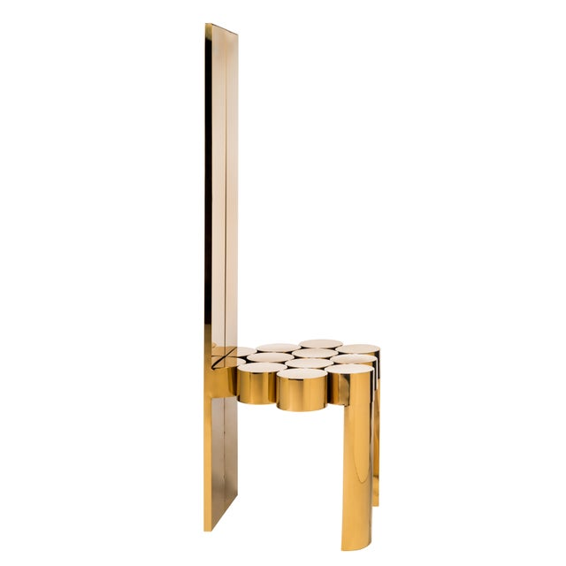 "Modern gold side chair made of uniquely crafted stainless steel. Materials: Stainless steel Measurements : 20""w x 19""d x..."