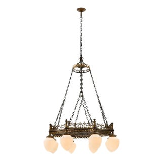 Towering Brass & Wrought Iron Theater Chandelier Circa 1915