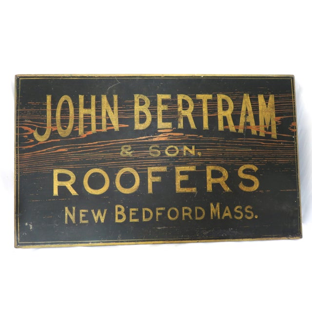 Antique Wood New Bedford Mass. Roofers Sign For Sale - Image 13 of 13