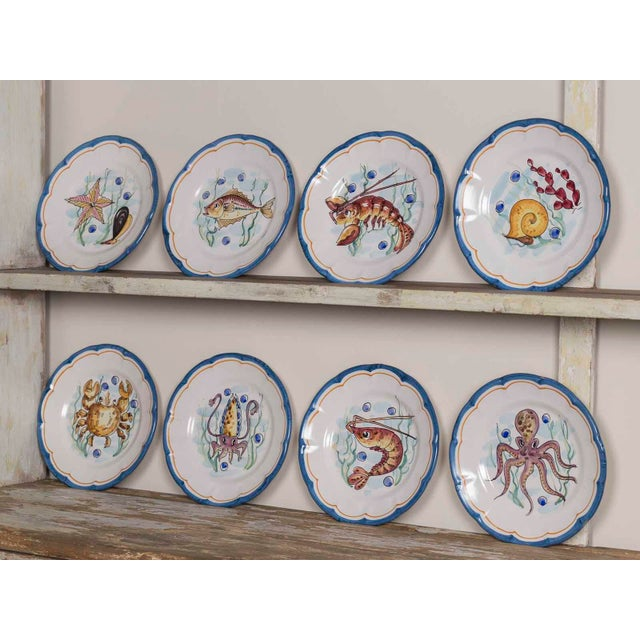Late 20th Century Italian Hand Painted Plates - Set of 8 For Sale - Image 11 of 11