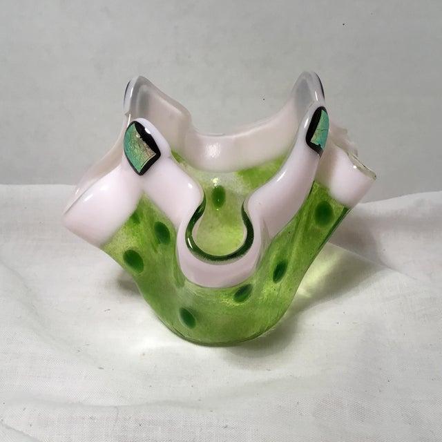 Handmade Clover Green Glass Vase For Sale - Image 5 of 11