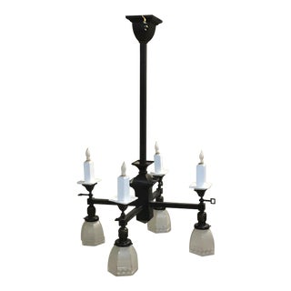 1900s Arts and Crafts Gas and Electric Chandelier With Greek Key Shades For Sale