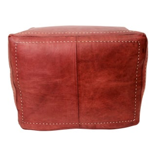 Handcrafted Brown Leather Cube For Sale