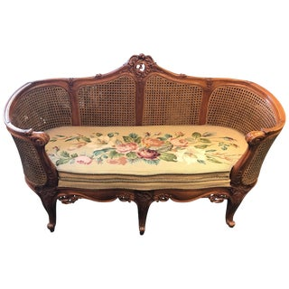 1920s French Louis XV Style Hand-Carved Settee For Sale