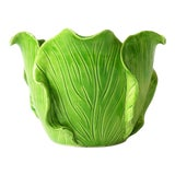 Image of French Green Lettuce or Cabbage Leaf Cachepot by Jean Roger, Paris, France For Sale