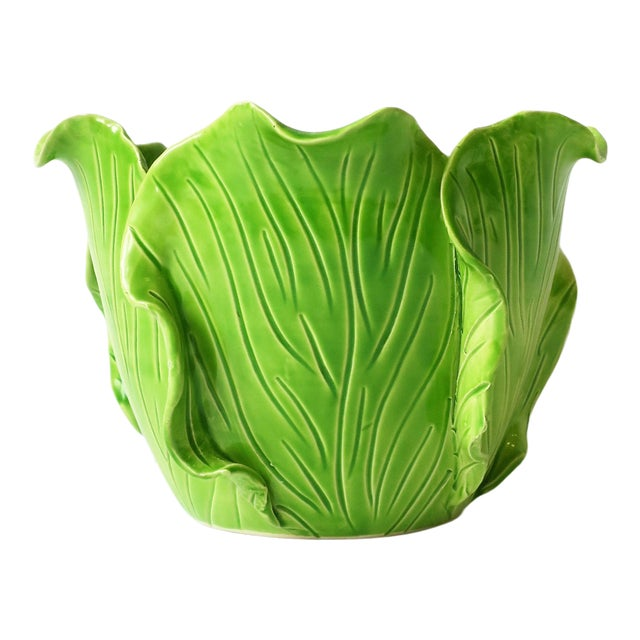 French Green Lettuce or Cabbage Leaf Cachepot by Jean Roger, Paris, France For Sale
