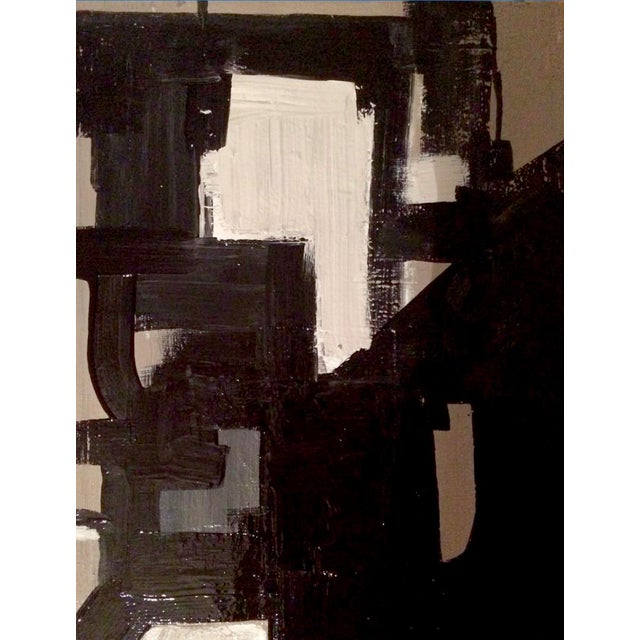 Contemporary Abstract Mid-Century Inspired Acrylic Painting, Framed For Sale - Image 4 of 4