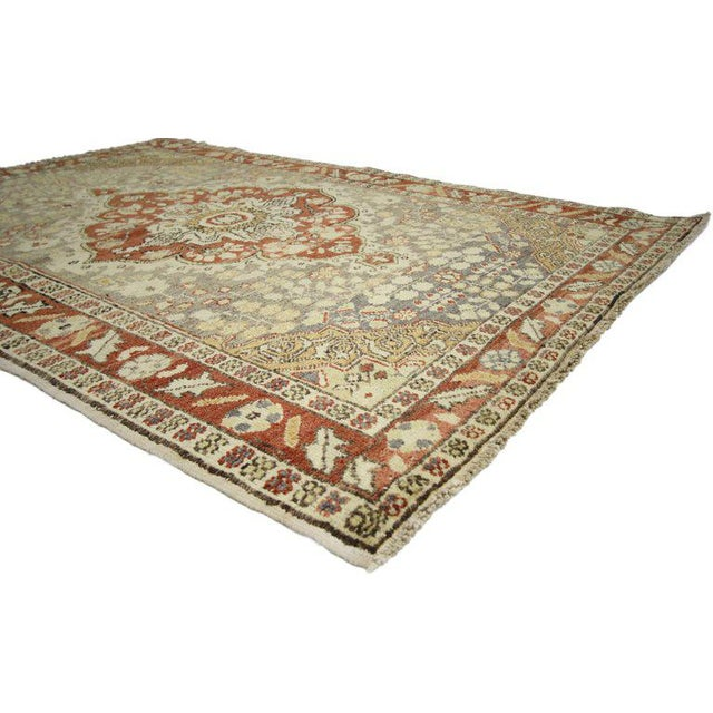 Vintage Mid-Century Turkish Sivas Accent Rug - 4′5″ × 6′6″ For Sale In Dallas - Image 6 of 7