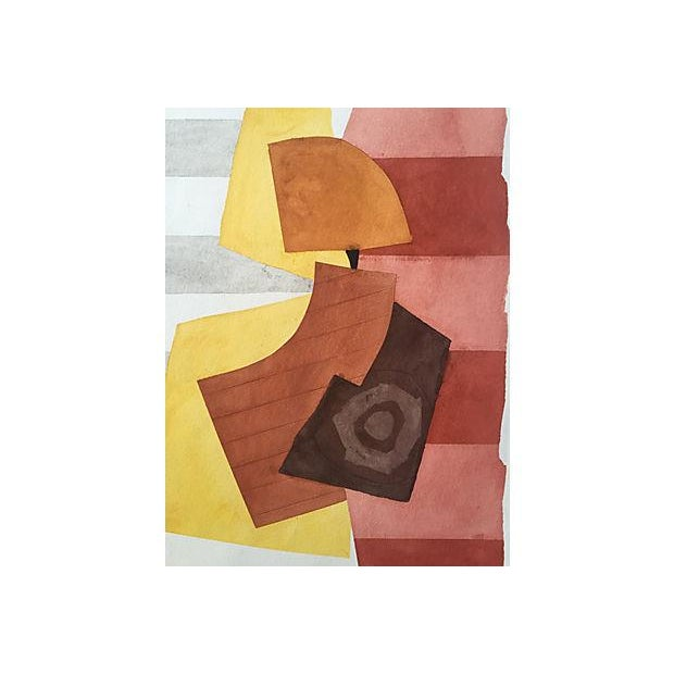 """Vintage abstract watercolor on Arches paper. Initialed """"RDG"""" for Roger D. Stokes and dated 10-86, lower right. Stokes was..."""