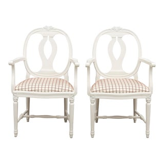 Vintage Gustavian Carved Rose Armchairs - Pair For Sale