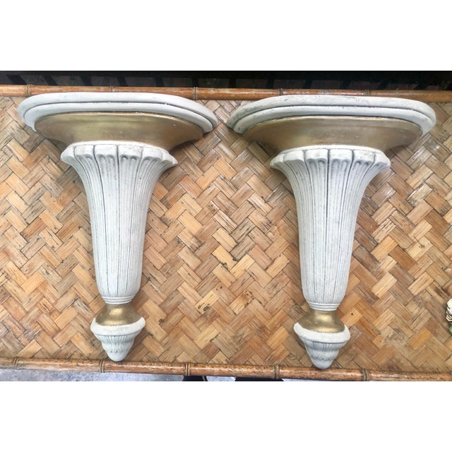 Neoclassical Hollywood Regency Gilt Plaster Wall Shelf Bracket Corbels - a Pair For Sale - Image 11 of 12