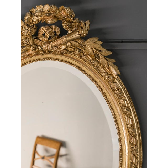 Antique French Louis XVI Style Oval Mirror circa 1890 - Image 4 of 8