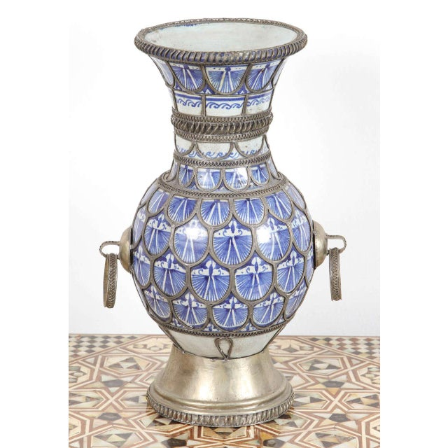 Antique Moroccan Ceramic Vase From Fez For Sale - Image 9 of 9