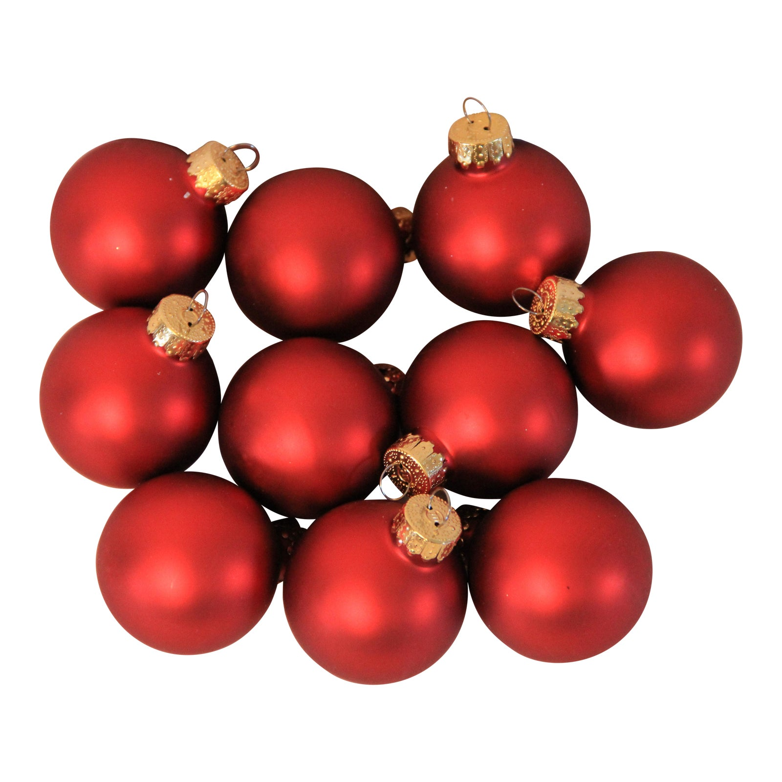 Satin Finish Red Glass Miniature Christmas Ornaments  Set Of