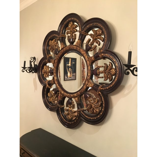 Late 20th Century New Orleans Style Large Wood Wall Mirror For Sale - Image 5 of 5