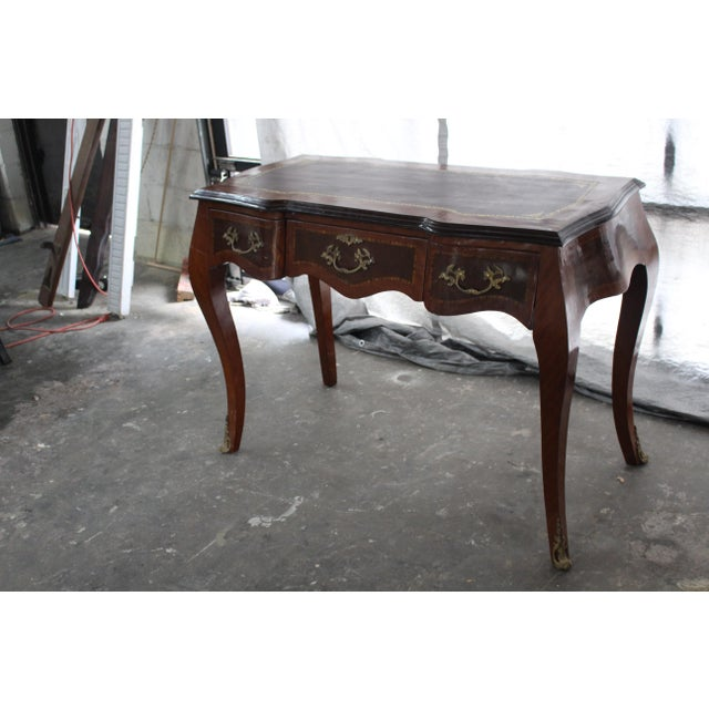 19th Century French Inlay Marquetry Writing Desk For Sale - Image 4 of 7