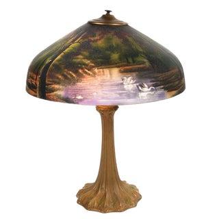 Art Nouveau Antique Reverse Painted Lamp C. 1900 For Sale