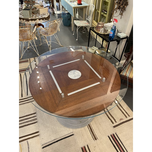 Mid 20th Century Vintage Brushed Steel and Wood Accent Table For Sale - Image 5 of 6
