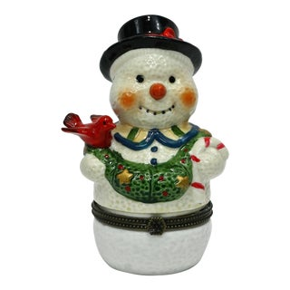 Bone China Snowman Hinged Box