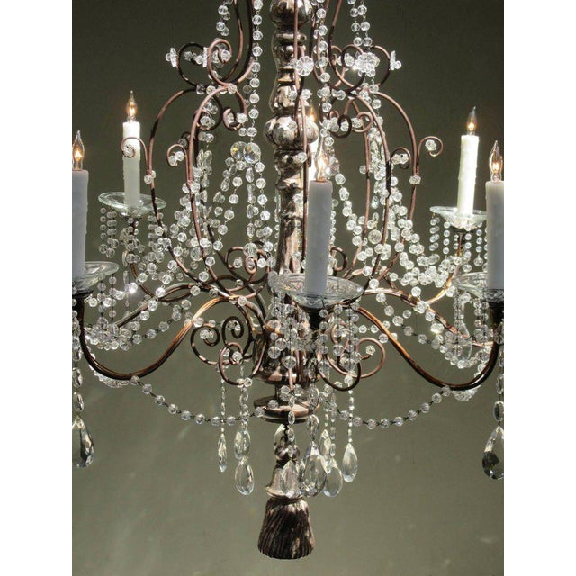 Silver 19th Century Italian Baroque Silver Leaf and Crystal Chandelier with Tassel For Sale - Image 8 of 10