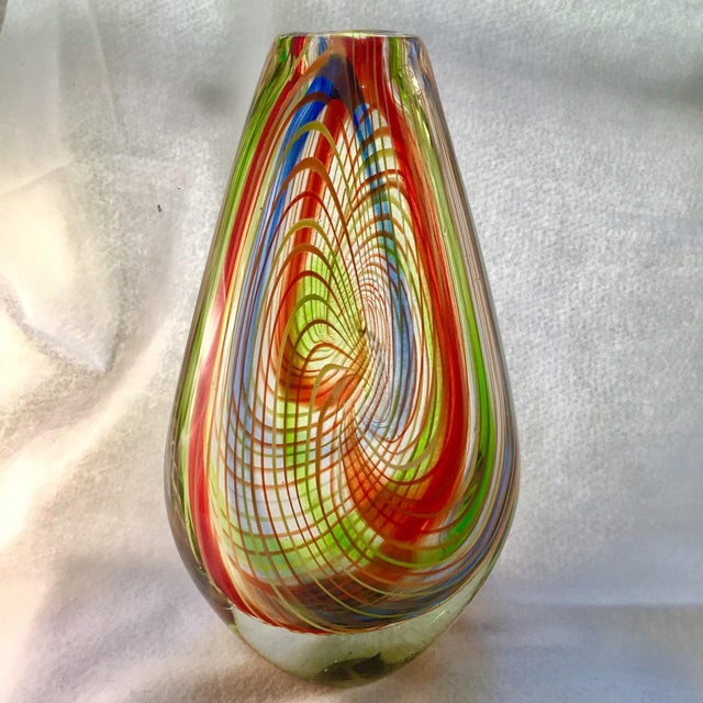 Large Mid-Century Murano Multi-Colored Swirl Teardrop Vase Attributed to Dino Martens For Sale In New York - Image 6 of 9
