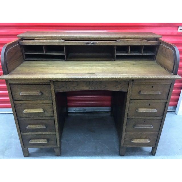 Antique Oak Roll-Top Desk - Image 3 of 9