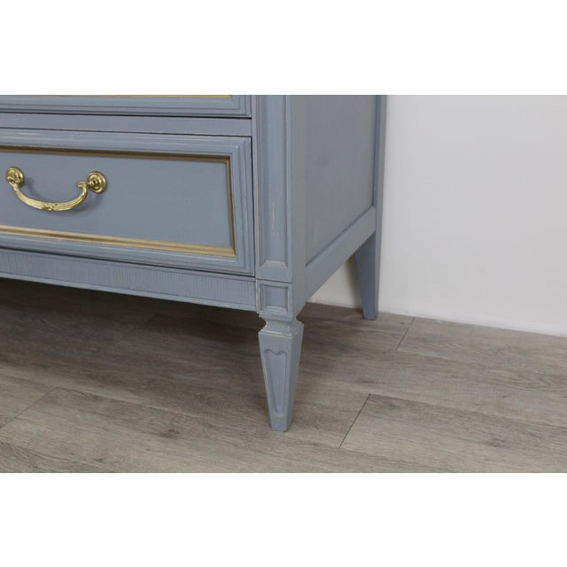 Mid Century Gray Neoclassical Style Dresser For Sale - Image 9 of 11