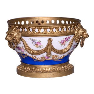 Circa 1920 French Louis XV Style Porcelain and Petite Bronze Cachepot For Sale
