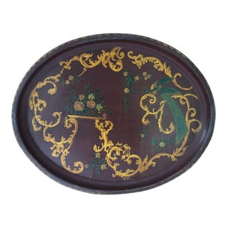 1950s Red and Gold Peacock and Floral Painted Vintage Tole Tray For Sale