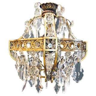 Small Empire Bronze and Crystal Five-Light Chandelier For Sale