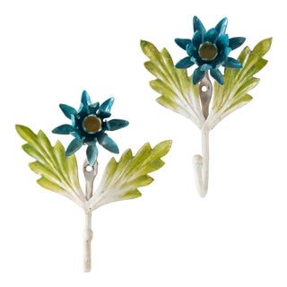 Italian Tole Blue Flower Hooks, a Pair For Sale