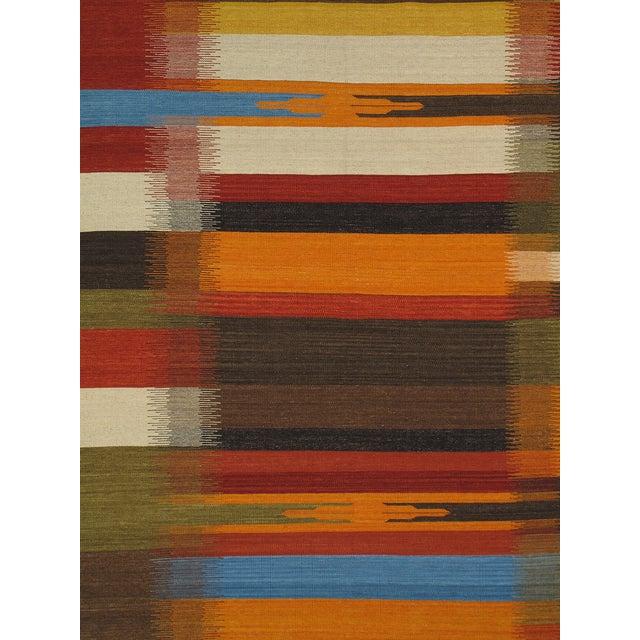 Modern Reversable Orange Wool Kilim - 5' x 8' - Image 2 of 2