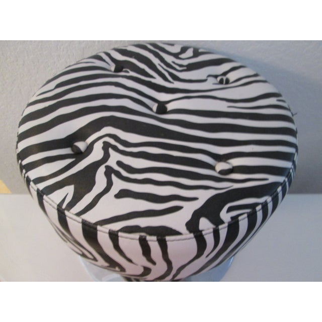 Black & White Zebra Print Chrome Ottoman For Sale In West Palm - Image 6 of 9