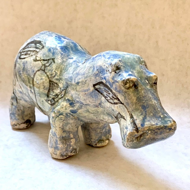 Vintage William the Faience Hippopotamus statue, from the Metropolitan Museum of Art. First acquired by the Met in 1917,...
