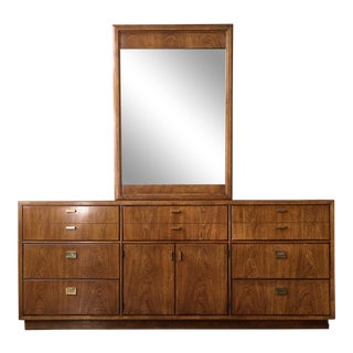 1970s Vintage Mid Century Drexel Consensus Triple Dresser With Mirror For Sale