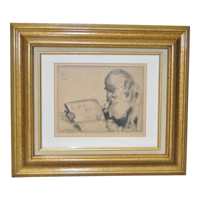 "Elias Grossman ""Quite Hour"" Etching c.1934 For Sale"