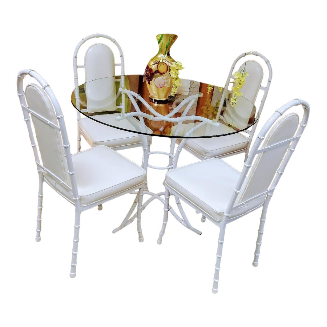 6 Piece Vintage Kessler Iron Faux Bamboo Patio Outdoor Dining Room Set  Chairs Table