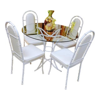 6 Piece Vintage Kessler Iron Faux Bamboo Patio Outdoor Dining Room Set Chairs Table For Sale